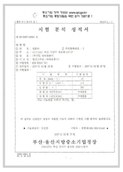 Power Cushion Buffer Certificate of Test & Analysis Result